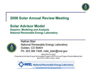 Primary view of object titled 'Solar Advisor Model; Session: Modeling and Analysis (Presentation)'.