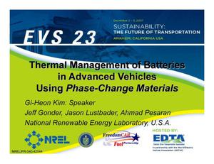 Primary view of object titled 'Thermal Management of Batteries in Advanced Vehicles Using Phase-Change Materials (Presentation)'.