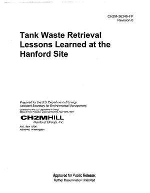 Primary view of object titled 'TANK FARM RETRIEVAL LESSONS LEARNED AT THE HANFORD SITE'.