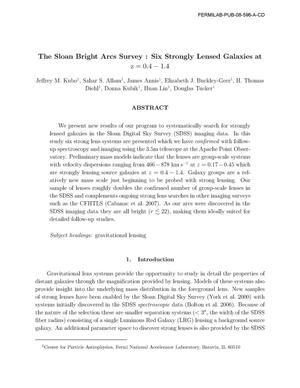 Primary view of object titled 'The Sloan Bright Arcs Survey : Six Strongly Lensed Galaxies at z=0.4-1.4'.