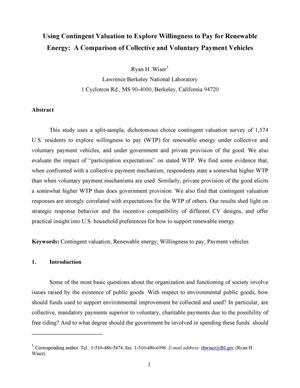 Primary view of object titled 'Using Contingent Valuation to Explore Willingness to Pay forRenewable Energy: A Comparison of Collective and Voluntary PaymentVehicles'.