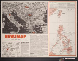 Primary view of object titled 'Newsmap. For the Armed Forces. 267th week of the war, 149th week of U.S. participation'.
