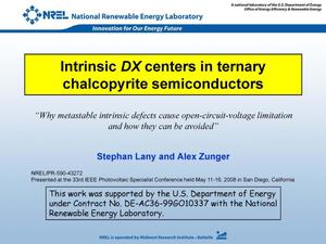 Primary view of object titled 'Intrinsic DX Centers in Ternary Chalcopyrite Semiconductors (Presentation)'.