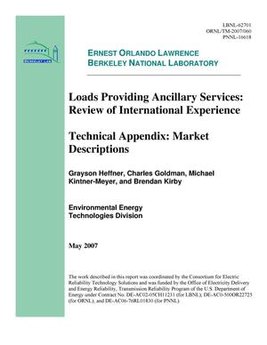 Primary view of object titled 'Loads Providing Ancillary Services: Review of InternationalExperience-- Technical Appendix: Market Descriptions'.