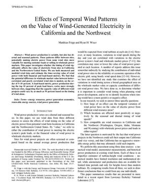 Primary view of object titled 'Effects of Temporal Wind Patterns on the Value of Wind-Generated Electricity in California and the Northwest'.