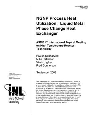 Primary view of object titled 'NGNP Process Heat Utilization: Liquid Metal Phase Change Heat Exchanger'.