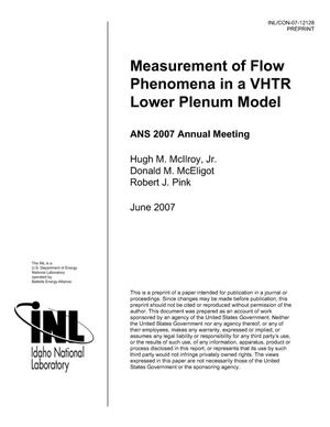 Primary view of object titled 'Measurement of Flow Phenomena in a VHTR Lower Plenum Model'.