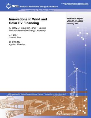 Primary view of object titled 'Innovations in Wind and Solar PV Financing'.