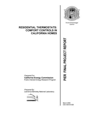 Primary view of object titled 'RESIDENTIAL THERMOSTATS: COMFORT CONTROLS IN CALIFORNIA HOMES'.
