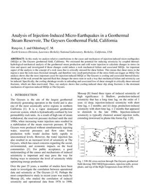 Primary view of object titled 'Analysis of Injection-Induced Micro-Earthquakes in a Geothermal Steam Reservoir, The Geysers Geothermal Field, California'.