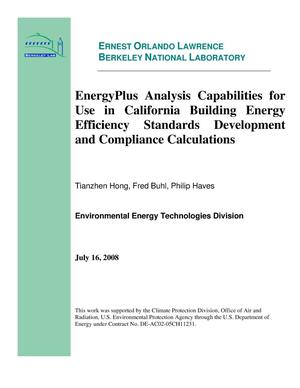 Primary view of object titled 'EnergyPlus Analysis Capabilities for Use in California Building Energy Efficiency Standards Development and Compliance Calculations'.