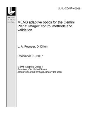 Primary view of object titled 'MEMS adaptive optics for the Gemini Planet Imager: control methods and validation'.
