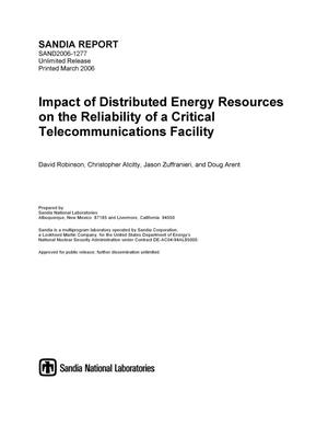 Primary view of object titled 'Impact of distributed energy resources on the reliability of a critical telecommunications facility.'.