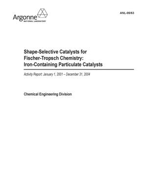 Primary view of object titled 'Shape-selective catalysts for Fischer-Tropsch chemistry : iron-containing particulate catalysts. Activity report : January 1, 2001 - December 31, 2004.'.