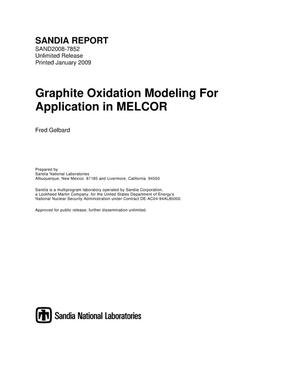 Primary view of object titled 'Graphite oxidation modeling for application in MELCOR.'.