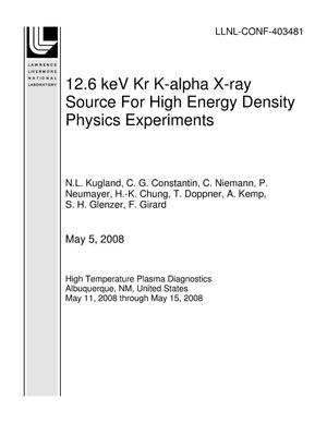 Primary view of object titled '12.6 keV Kr K-alpha X-ray Source For High Energy Density Physics Experiments'.
