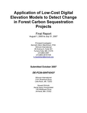 Primary view of object titled 'Application of Low-Cost Digital Elevation Models to Detect Change in Forest Carbon Sequestration Projects'.