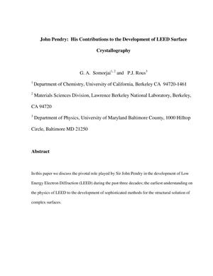 Primary view of object titled 'John Pendry: His Contributions to the Development of LEED Surface Crystallography'.