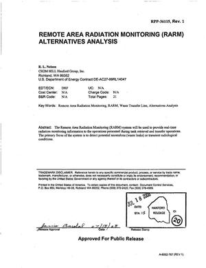 Primary view of object titled 'REMOTE AREA RADIATION MONITORING (RARM) ALTERNATIVES ANALYSIS'.