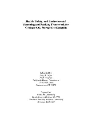 Primary view of object titled 'Health, Safety, and Environmental Screening and Ranking Frameworkfor Geologic CO2 Storage Site Selection'.