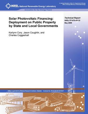 Primary view of object titled 'Solar Photovoltaic Financing: Deployment on Public Property by State and Local Governments'.