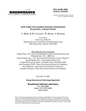 Primary view of object titled 'New York City Energy-Water Integrated Planning: A Pilot Study'.