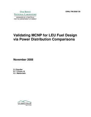 Primary view of object titled 'Validating MCNP for LEU Fuel Design via Power Distribution Comparisons'.