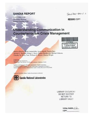 Primary view of object titled 'Understanding communication in counterterrorism crisis management.'.