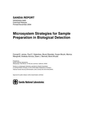 Primary view of object titled 'Microsystem strategies for sample preparation in biological detection.'.