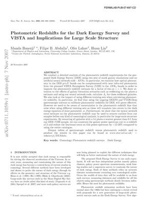 Primary view of object titled 'Photometric Redshifts for the Dark Energy Survey and VISTA and Implications for Large Scale Structure'.