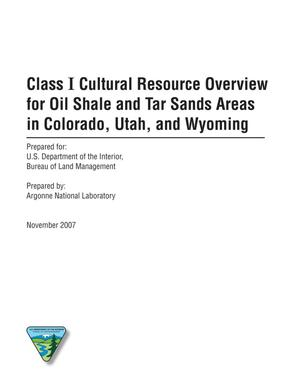 Primary view of object titled 'Class I cultural resource overview for oil shale and tar sands areas in Colorado, Utah and Wyoming.'.
