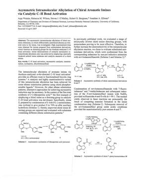 Primary view of object titled 'Asymmetric Intramolecular Alkylation of Chiral Aromatic Imines via Catalytic C-H Bond Activation'.