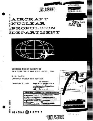 Primary view of object titled 'Control design review of P&W quarterly for July--September, 1960'.