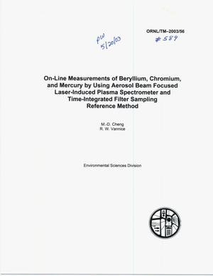 Primary view of object titled 'On-Line Measurement of Beryllium, Chromium, and Mercury by Using Aerosol Beam Focused Laser-Induced Plasma Spectrometer and TIme-Integrated Filter Sampling and Reference Method'.