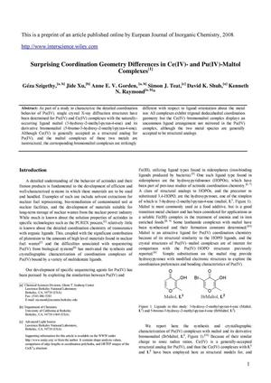 Primary view of object titled 'Surprising Coordination Geometry Differences in Ce(IV)- and Pu(IV)-Maltol Complexes'.