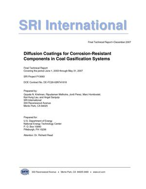 Primary view of object titled 'Diffusion Coatings for Corrosion-Resistant Components in Coal Gasification Systems'.