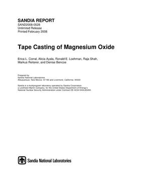 Primary view of object titled 'Tape casting of magnesium oxide.'.