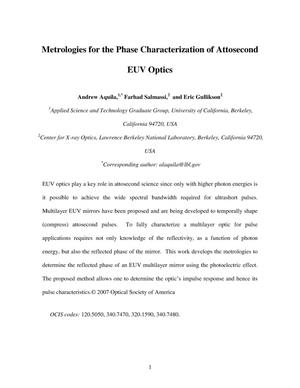 Primary view of object titled 'Metrologies for the Phase Characterization of Attosecond'.