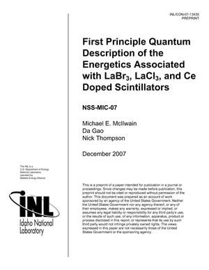 Primary view of object titled 'First Principle Quantum Description of the Energetics Associated with LaBr3, LaCl3, and Ce Doped Scintillators'.