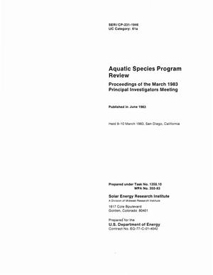 Primary view of object titled 'Aquatic Species Program Review: Proceedings of the March 1983 Principal Investigators Meeting'.