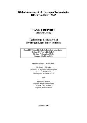 Primary view of object titled 'Global Assessment of Hydrogen Technologies - Task 1 Report Technology Evaluation of Hydrogen Light Duty Vehicles'.