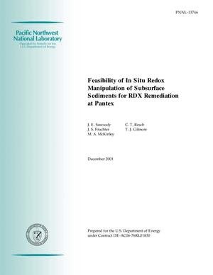 Primary view of object titled 'Feasibility of In Situ Redox Manipulation of Subsurface Sediments for RDX Remediation at Pantex'.