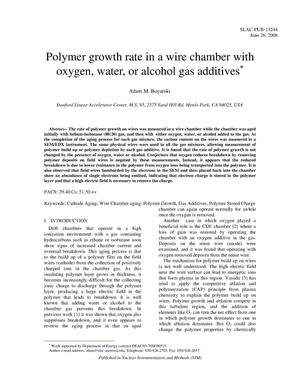 Primary view of object titled 'Polymer Growth Rate in a Wire Chamber with Oxygen,Water, or Alcohol Gas Additives'.