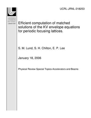 Primary view of object titled 'Efficient computation of matched solutions of the KV envelope equations for periodic focusing lattices.'.