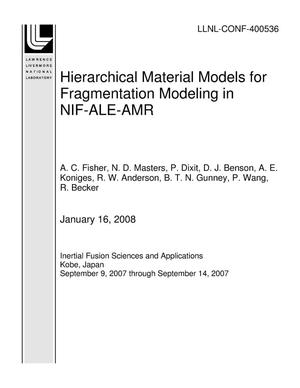 Primary view of object titled 'Hierarchical Material Models for Fragmentation Modeling in NIF-ALE-AMR'.