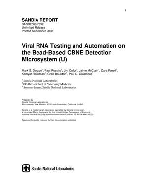 Primary view of object titled 'Viral RNA testing and automation on the bead-based CBNE detection microsystem.'.