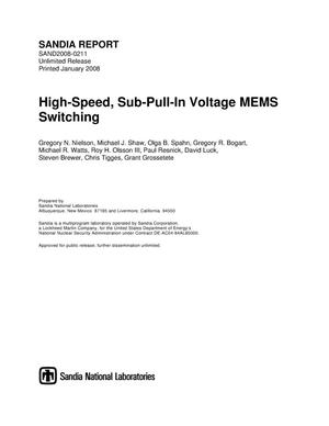 Primary view of object titled 'High-speed, sub-pull-in voltage MEMS switching.'.