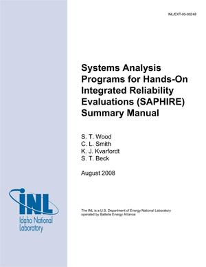 Primary view of object titled 'Systems Analysis Programs for Hands-on Intergrated Reliability Evaluations (SAPHIRE) Summary Manual'.