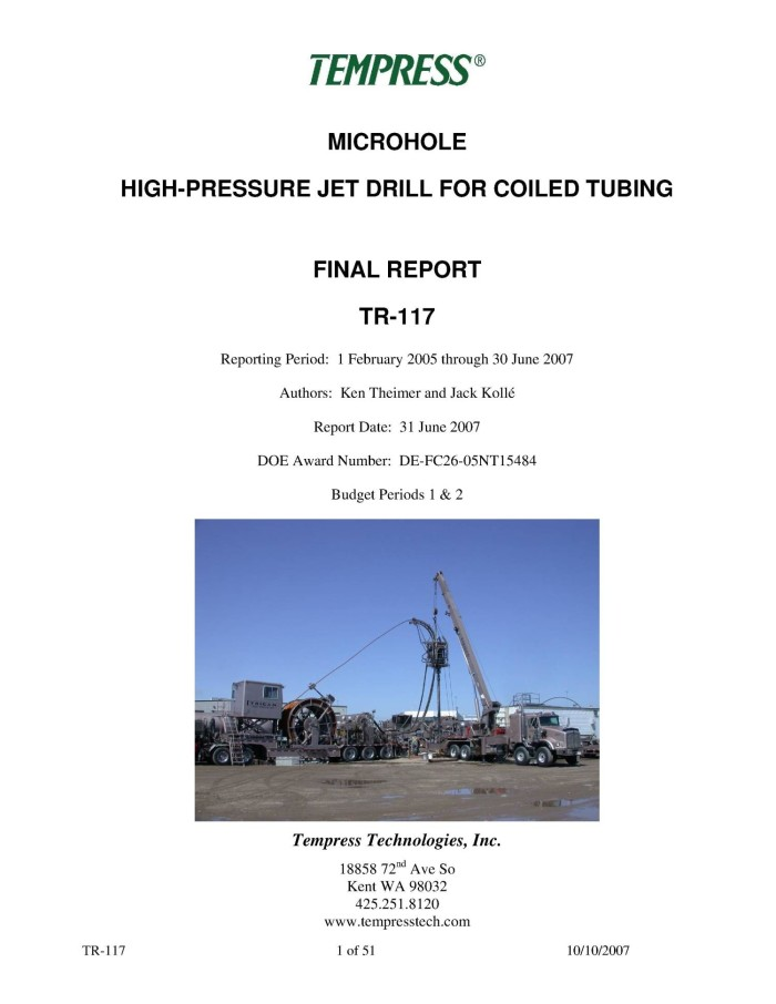 Microhole High-Pressure Jet Drill for Coiled Tubing