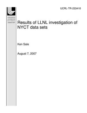 Primary view of object titled 'Results of LLNL investigation of NYCT data sets'.